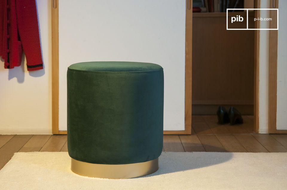 Brass and green velvet pouf Dallas