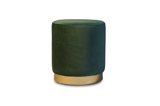 Brass and green velvet pouf Dallas Clipped
