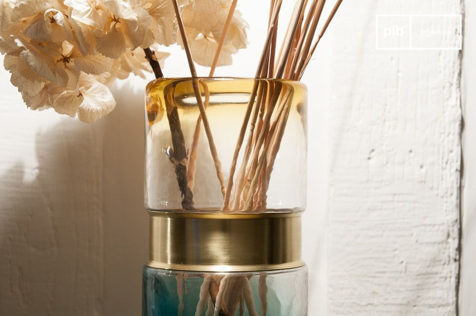 Colourful glass with an elegant brass strap