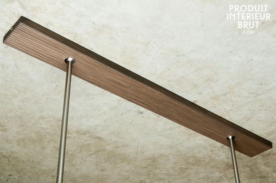 Designed with a walnut base to be fixed on the ceiling to hide the electric cables