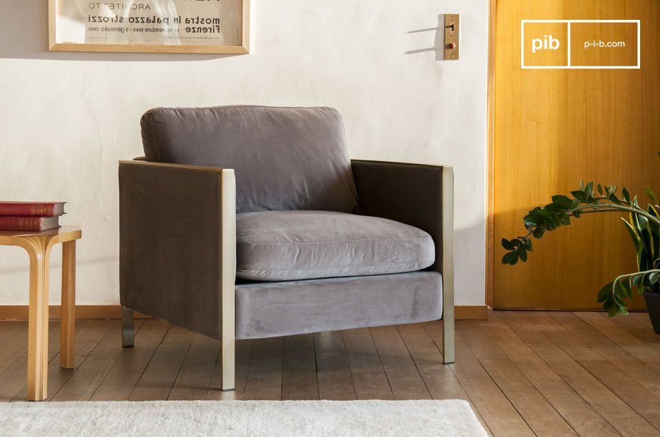 Mouse grey velvet armchair with gilded metal structure.