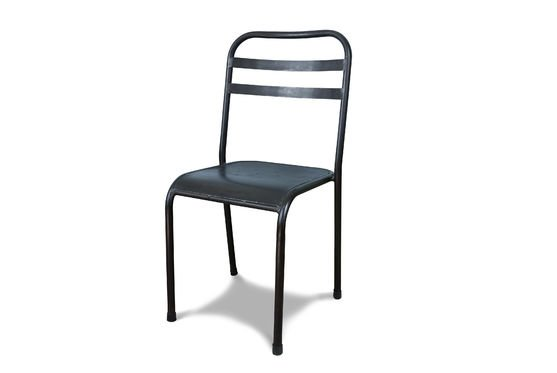 Brown stackable metal chair Clipped