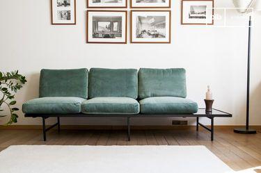 Carthy velvet sofa with siderest
