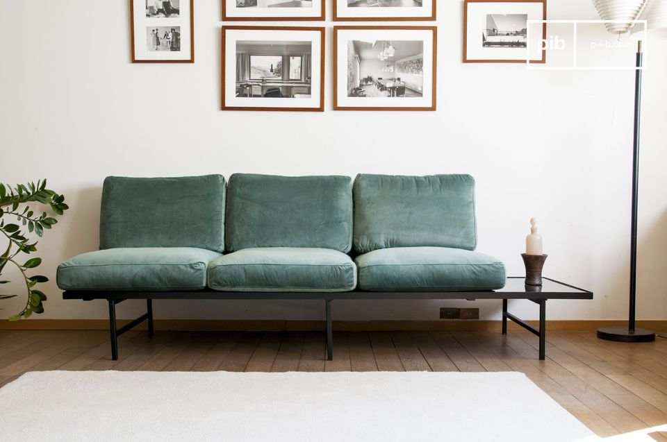 Carthy velvet sofa with siderest