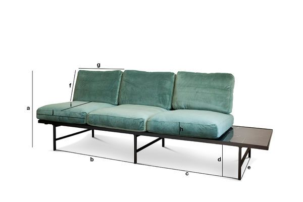 Product Dimensions Carthy velvet sofa with siderest