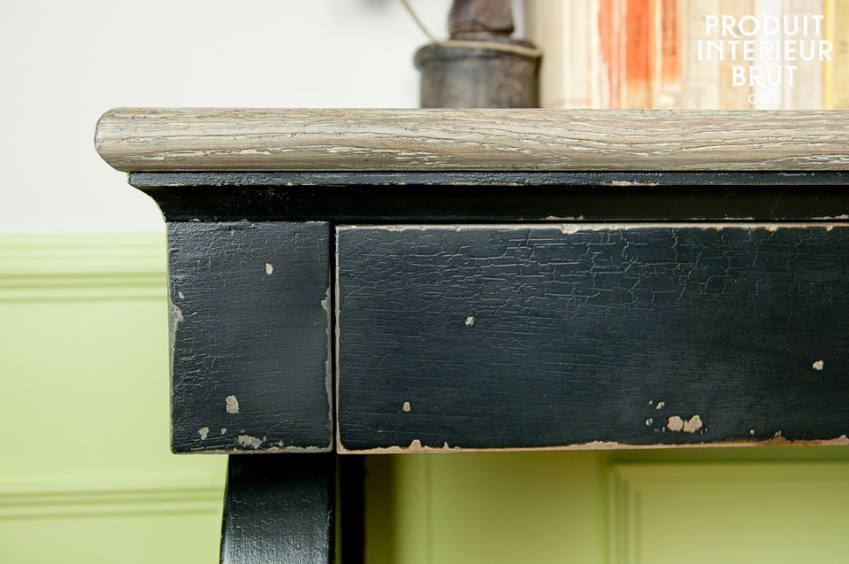 Distressed black oak and limewashed top