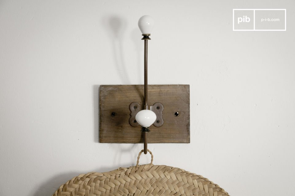 Ceramic double-hook coat rack