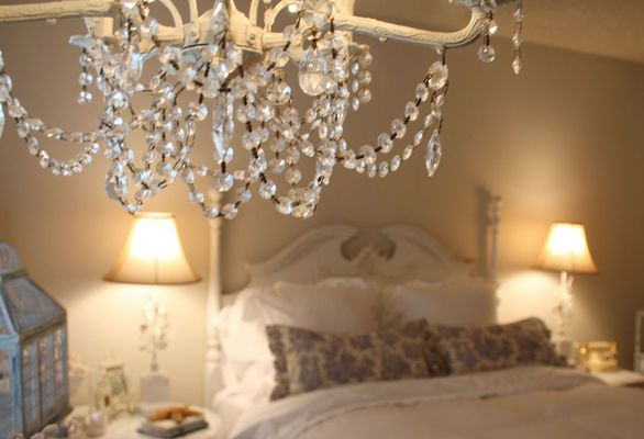 chandelier with crystal drops for the bedroom