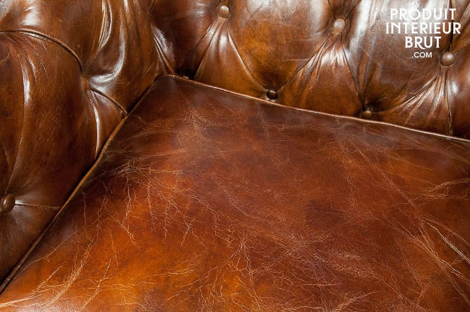 Aged leather Chesterfield