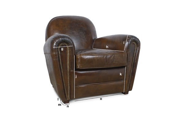 Product Dimensions Cigar Club leather armchair