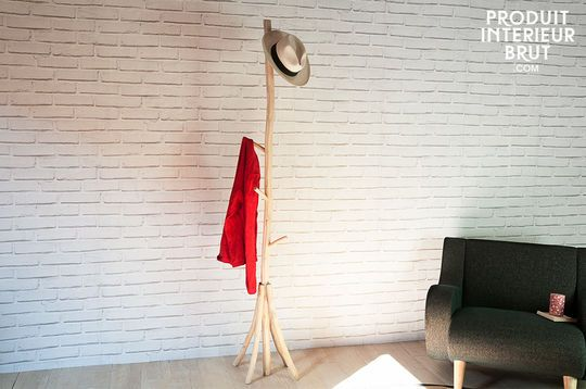 Coat rack designed with natural teak