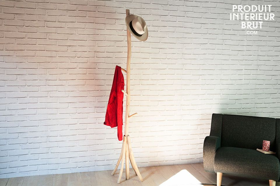 Coat rack designed with natural teak