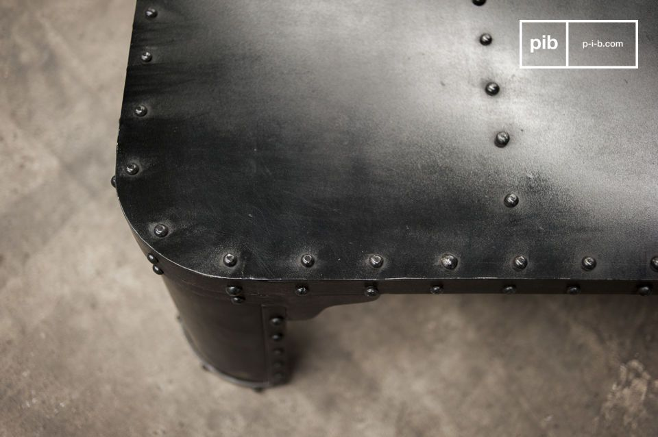 This industrial coffee table has a sophisticated industrial design