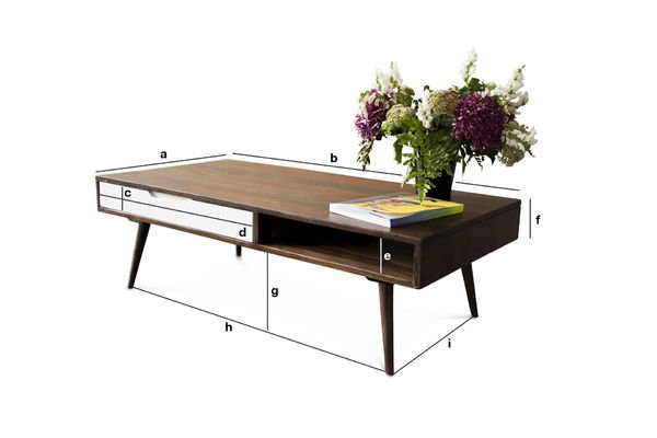 Product Dimensions Coffee table Brown'n White