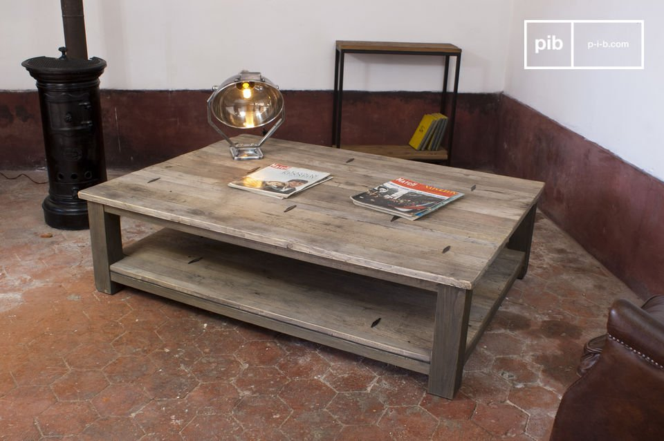 Made entirely of reclaimed elm planks