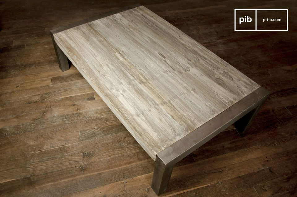 Well finished, this table\'s raw wood is covered with weathered gray painting