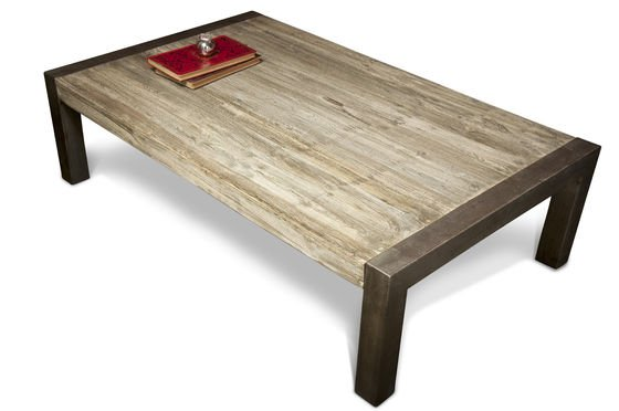 Coffee table with recycled teak Clipped