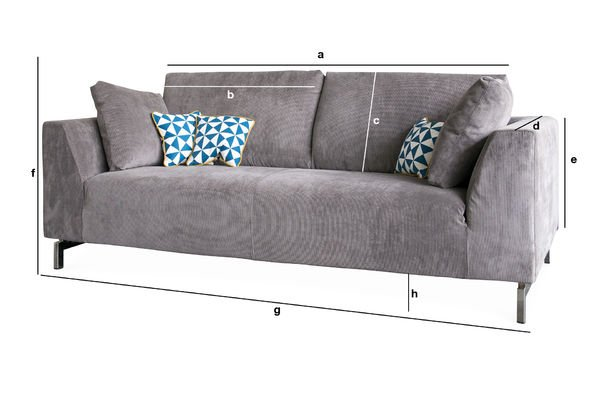 Product Dimensions Dakota sofa with removable cover