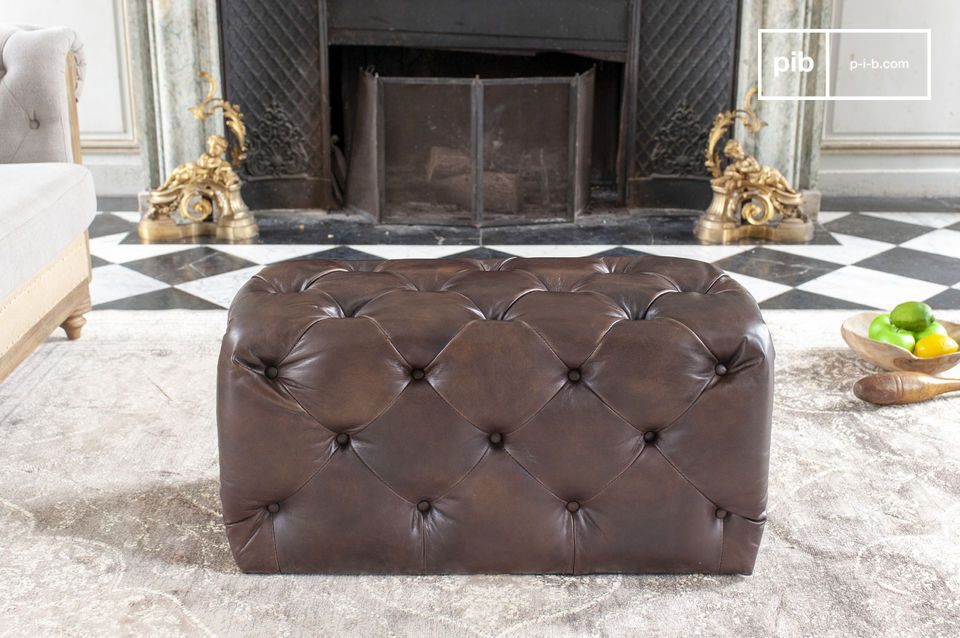 Charming black-brown Chesterfield pouffe - 100% leather