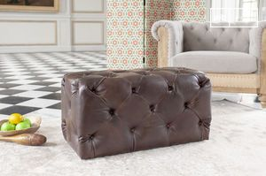 Dark Chesterfield leather pouffe
