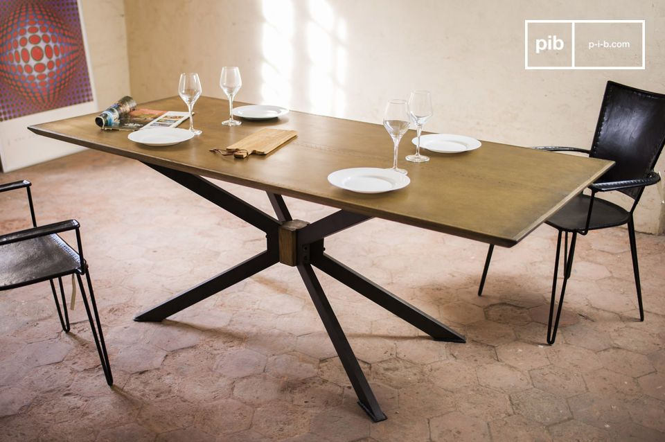 Dining Table Liverpool Straight Lines And A Perfect Combination Of Oak Wood Iron