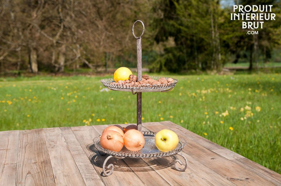This two-tier serving stand is ideal for presenting your desserts and cheeses