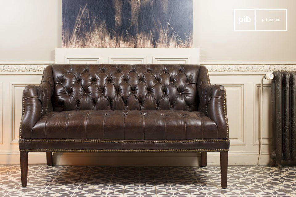 Chic Retro sofa made entirely of distressed leather