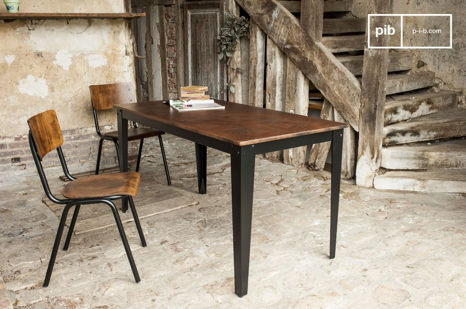 Doinel table a desk or simple dining table in a resolute - Table industrielle rallonge ...