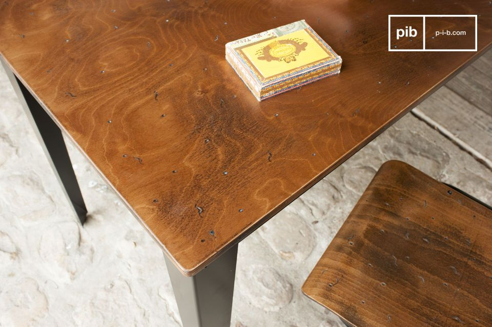 A desk or simple dining table in a resolute industrial design