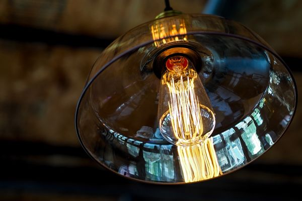 hanging light with lampshade in glass