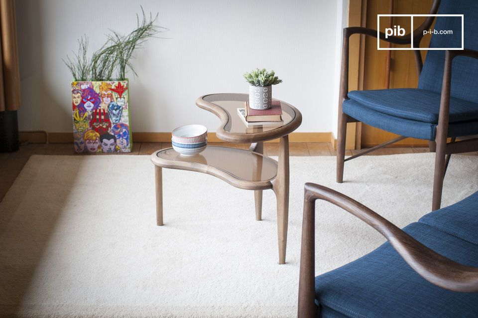 The playful and vintage design of a side table with a bean design