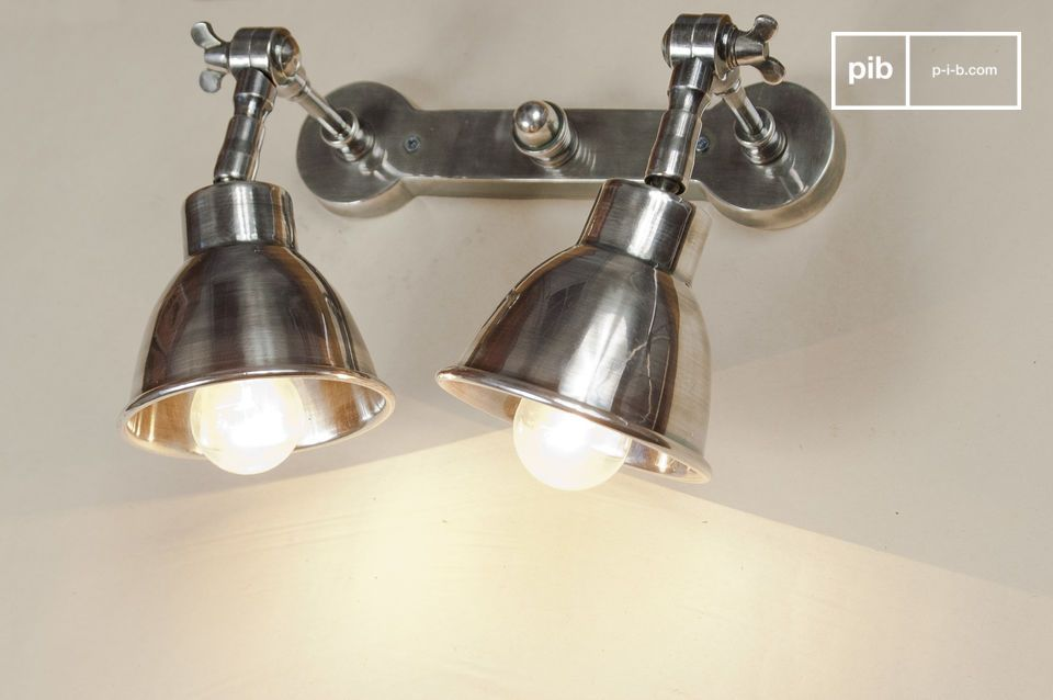Wall Lamps Silver : Double silver-plated wall lamp - Easily adjustable pib