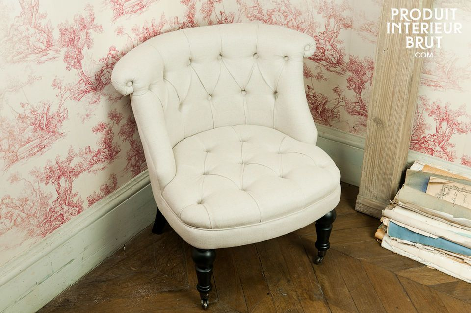 The charm of this padded easy chair with a linen-cotton cover gives your interior a great boho-chic