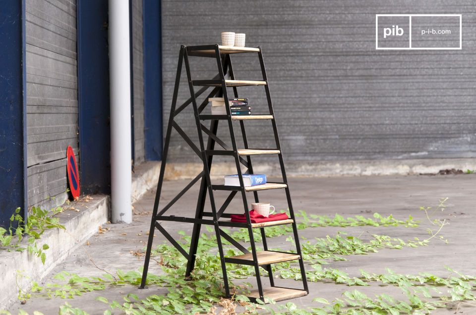 Sublime workshop stepladder in light wood and matt black.