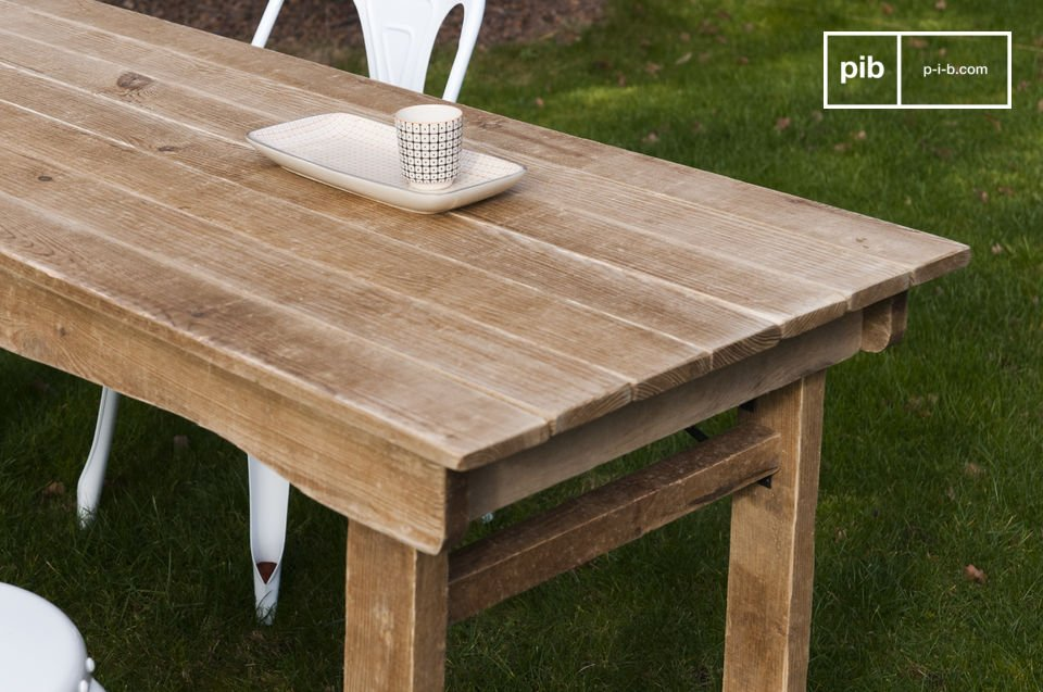A wooden table with a farmhouse spirit