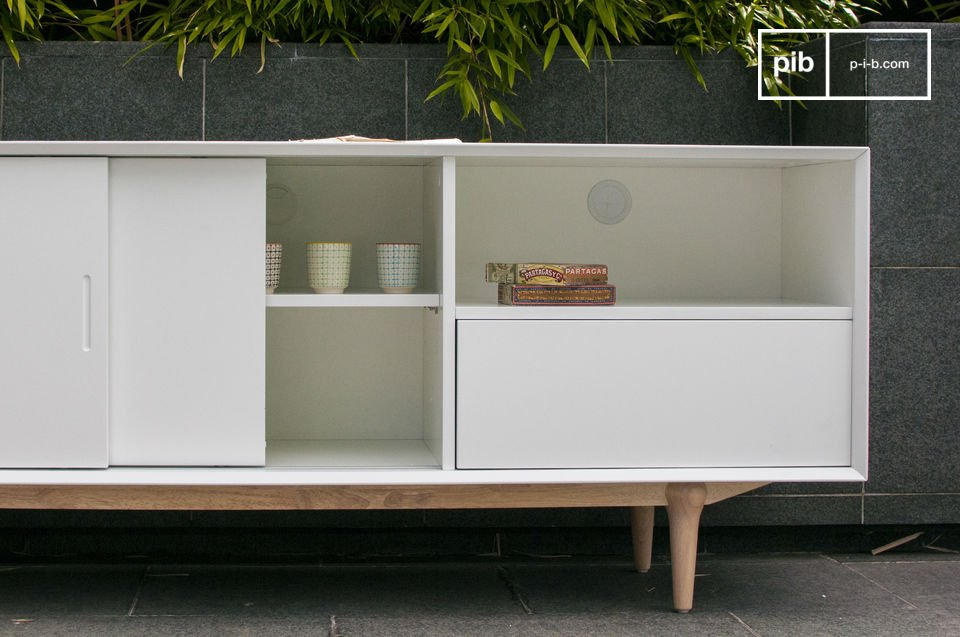 Choose a storage buffet that combines the convenience of a modern design and elegance of a bright
