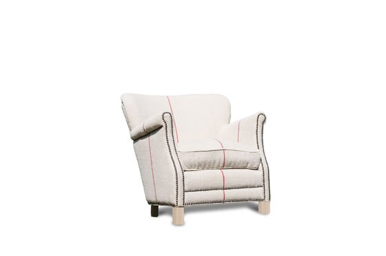 Fontaine white linen armchair Clipped