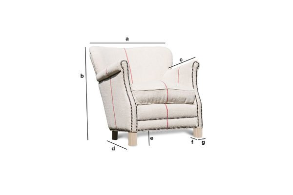 Product Dimensions Fontaine white linen armchair