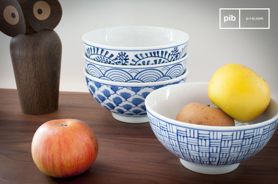 Four Blue Lagoon Porcelain Bowls