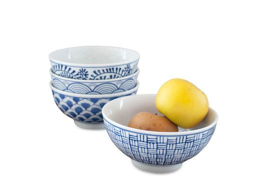 Four Blue Lagoon Porcelain Bowls Clipped
