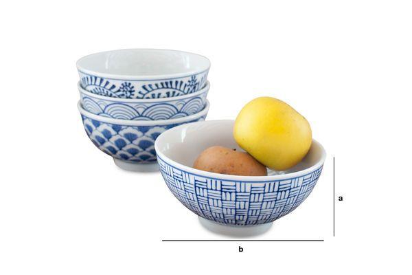 Product Dimensions Four Blue Lagoon Porcelain Bowls