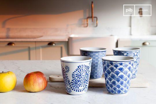 Four Blue Lagoon Porcelain Cups