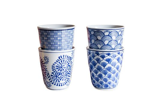 Four Blue Lagoon Porcelain Cups Clipped