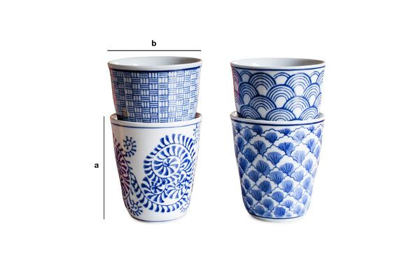 Product Dimensions Four Blue Lagoon Porcelain Cups