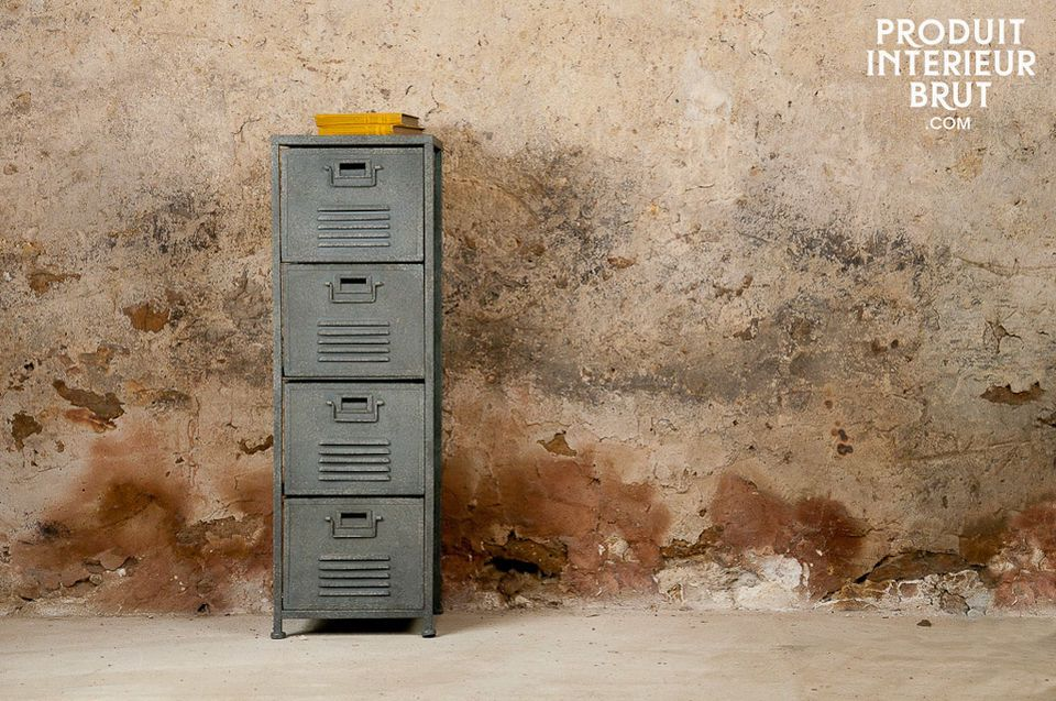 Its vented metal front and sides make this a highly original upright set of drawers