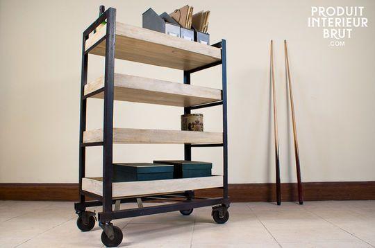Four-shelf industrial storage cart