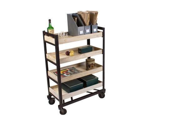 Four-shelf industrial storage cart Clipped