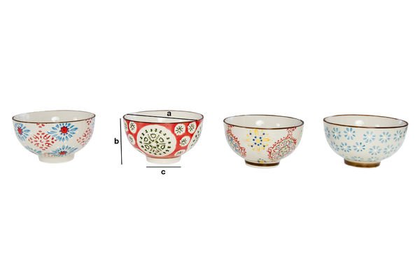 Product Dimensions Four tzigane bowls