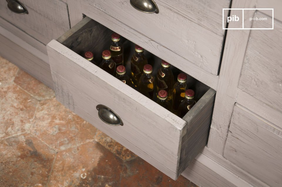 The front of the chest of chest of drawers is finished in beautiful wisteria tones