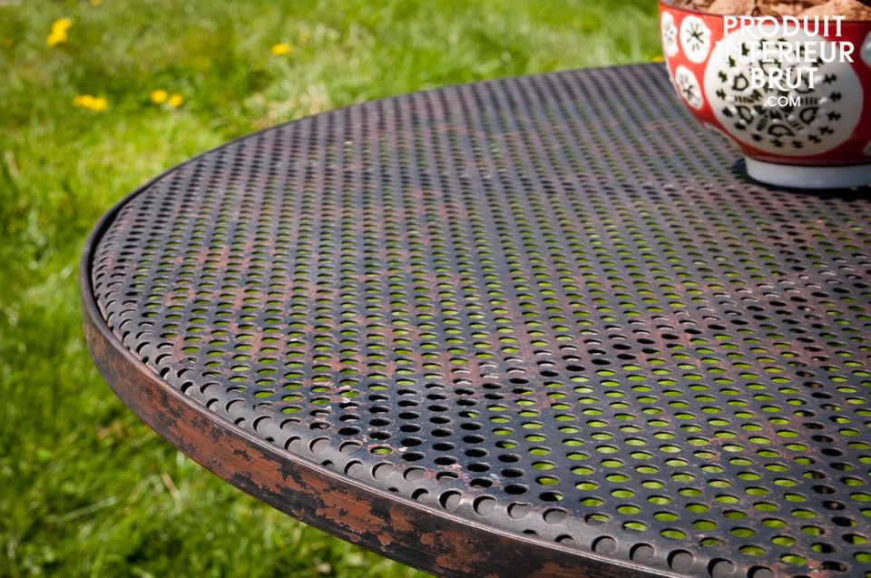 A distressed table for indoor or outdoor use